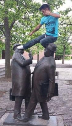 kicking statue
