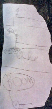 "My older son drew this a couple years ago. He called it ""man walks off a cliff""."