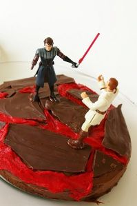 "We'll call this the ""fiery almost death scene"" cake."