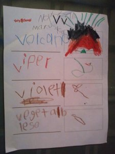This was done by my older son when he was in kindergarten. He loves volcanoes and looked forward to this letter all year.